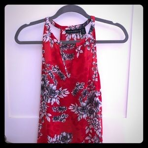 Cynthia Rowley V-racer back red flowered blouse.